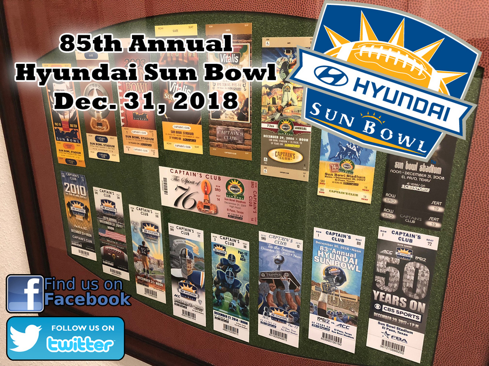 Tickets on Sale for the 85th Annual Hyundai Sun Bowl; Game Date Moved Back to New Year's Eve
