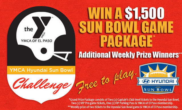 The YMCA Hyundai Sun Bowl Challenge Returns for the 2018 College Football Season; Another Season of Chances to Win Tickets and a Prize Package for the Hyundai Sun Bowl
