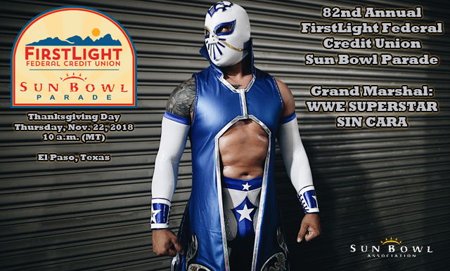 WWE Superstar Sin Cara Announced as Grand Marshal for the 82nd Annual FirstLight Federal Credit Union Sun Bowl Parade