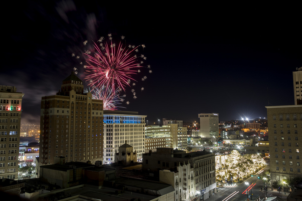 Fireworks explode over San Jacinto Plaza to close out the Annual Fan Fiesta